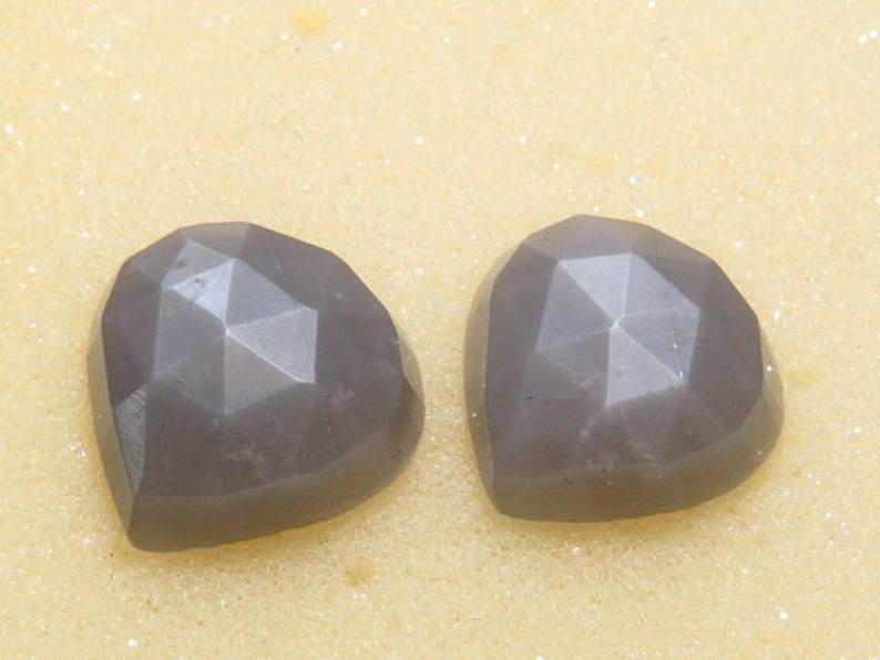 Rose Cut Gray Moonstone Good Quality Matching Pair Heart Shape Cabochon Size 14x14 mm