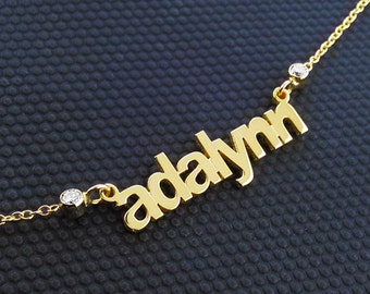 Four Name Necklace-14k Gold Name Necklace-Multiple name necklace gold-4 Name Necklace-Multiple name necklace - Handmade Name Necklace, USA