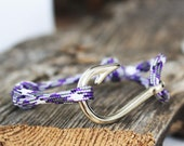 Fish Hook Bracelet with Purple Camo Paracord