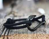 Fish Hook Bracelet with Black Paracord