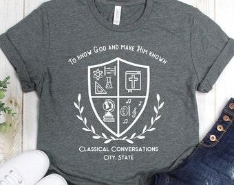Classical Conversations To Know God and Make Him Known CC Community Shirt, CC Mom Shirt, CC Tutor Shirt, Unisex Short Sleeve Shirt