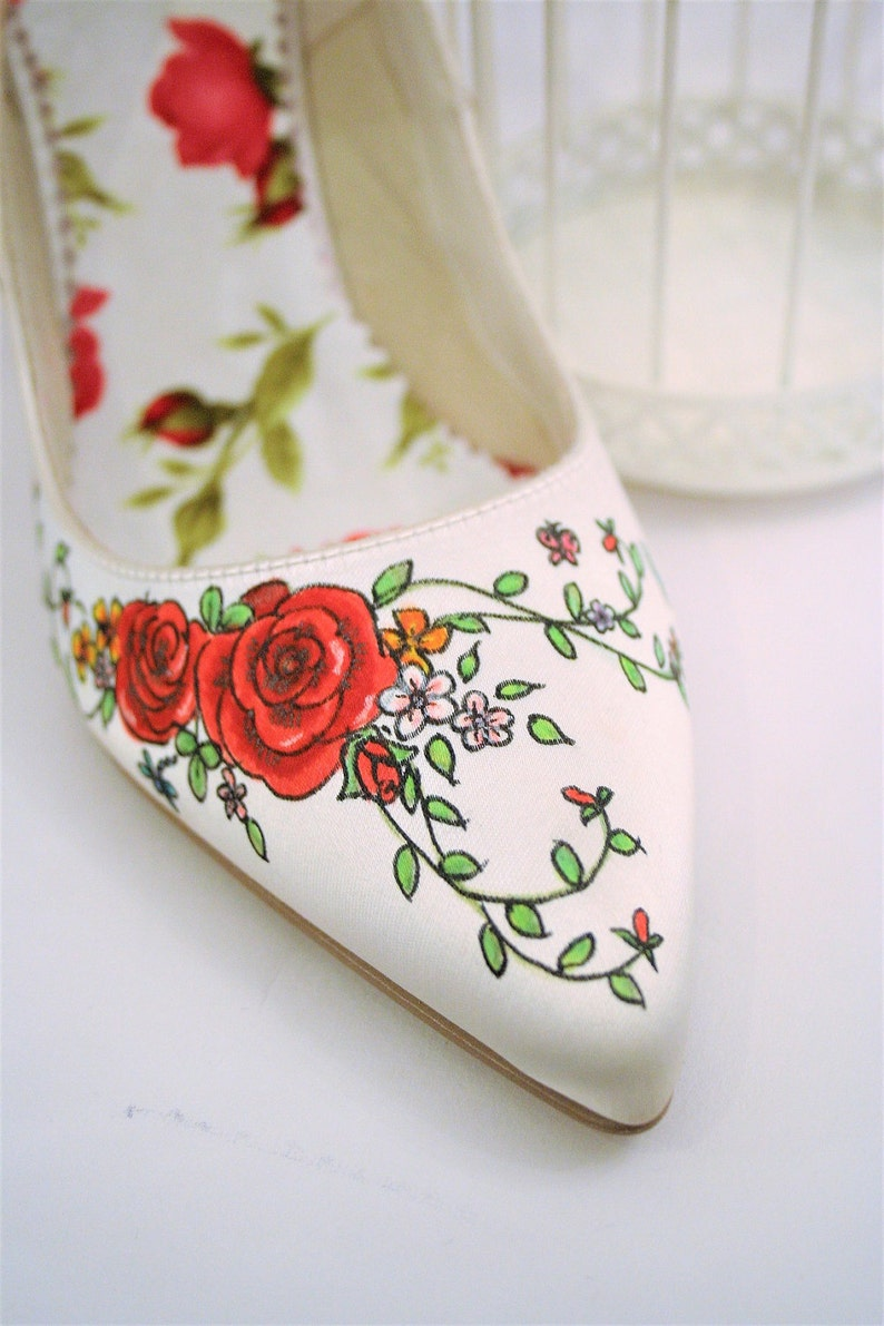 fc4f6ddf611 Rose Hand Painted Custom Wedding Shoes Personalized Bridal