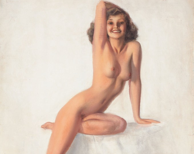 Vintage PinUp Girl Art Happy as a Lark Print 12x18 or 20x30 inches