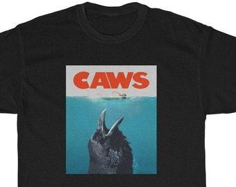 91415f66e CAWS Jaws/Crow Mashup Unisex Shirt, Crow Shirt, Raven Shirt|Jaws  Inspired|Jaws Poster Spoof Shirt, Funny Crow Shirt