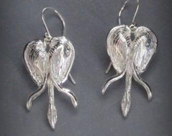Sterling Silver Bleeding Heart Flower Earrings