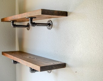 Industrial Pipe Shelving 18x75 Christmas Gift Open Farmhouse Dining Shelves Holiday Decor Kitchen