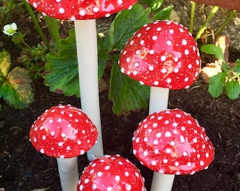Amanita Muscaria, Five  hand crafted ceramic mushrooms, 1 large, 1 medium, 3 small.