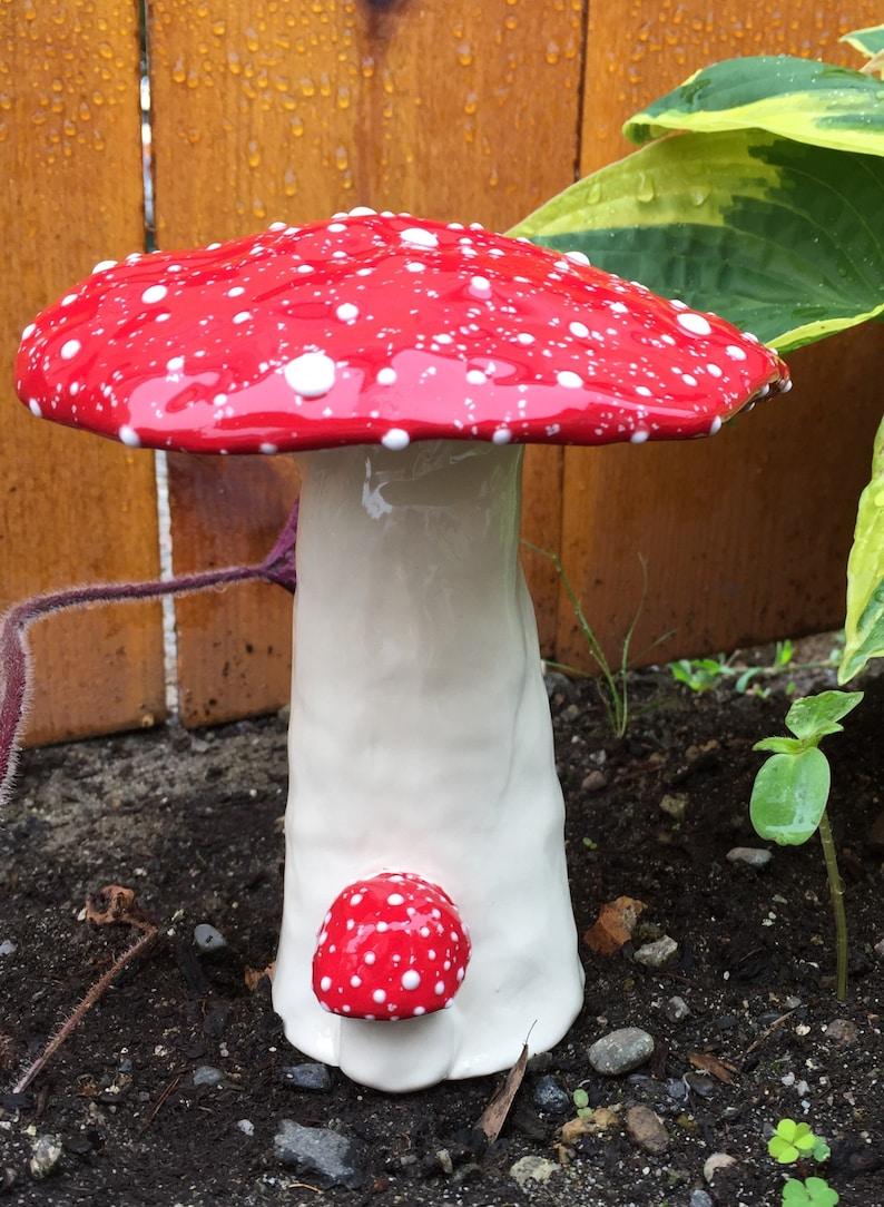handmade pottery mushroom Ceramic mushroom Amanita Muscaria garden art