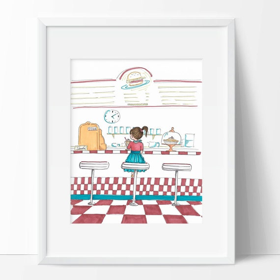 Retro Wall Art Print For Kitchen Diner Wall Decor 50 S Etsy