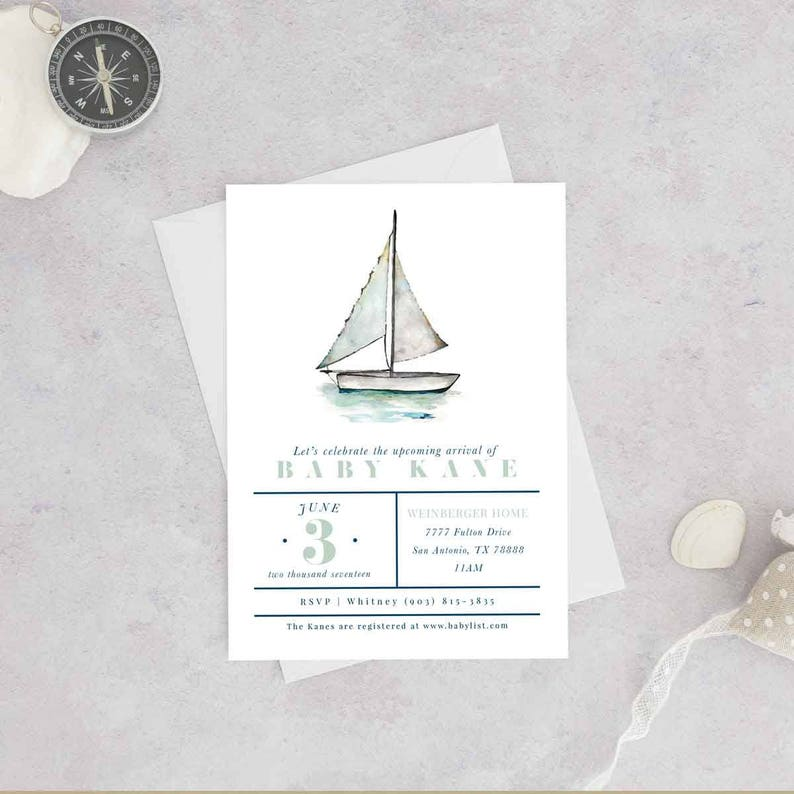Nautical Baby Shower Invitation Sailboat Gender Neutral