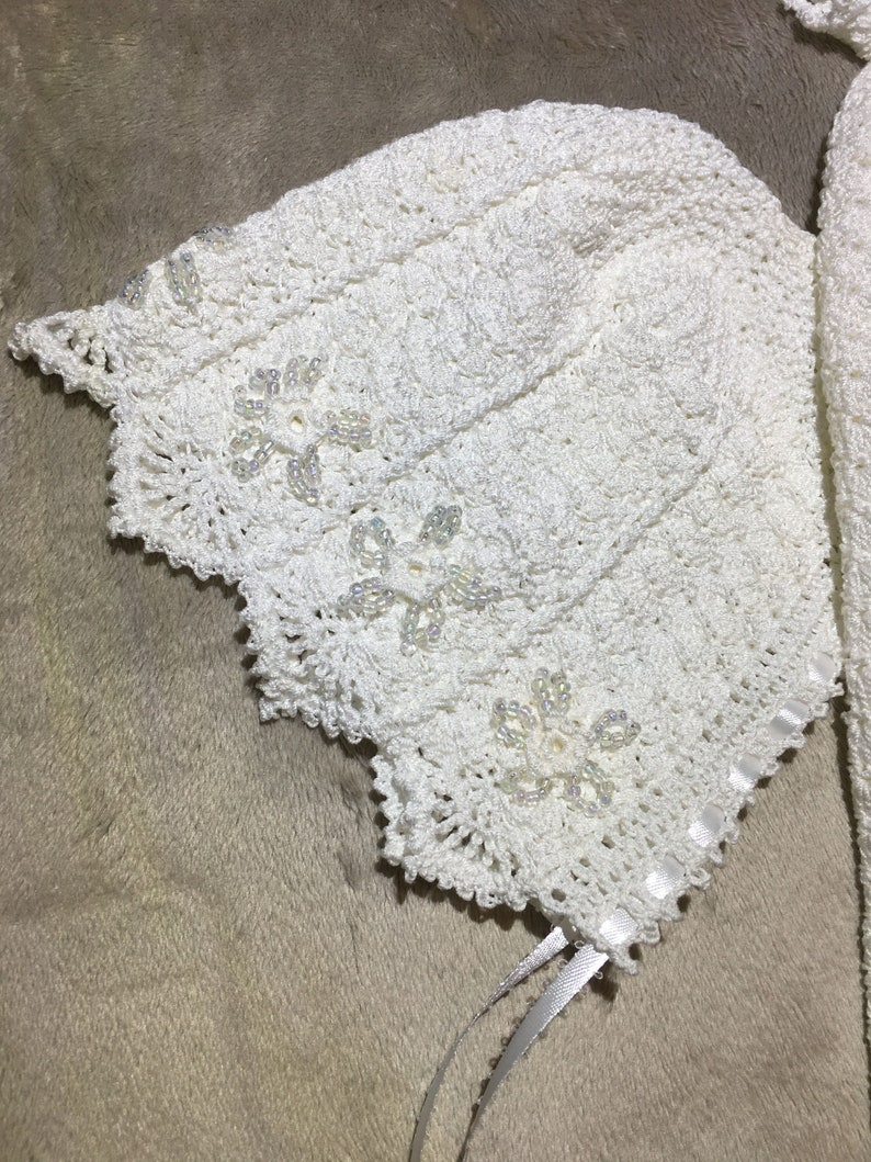 Christening Gown with flower and bead details