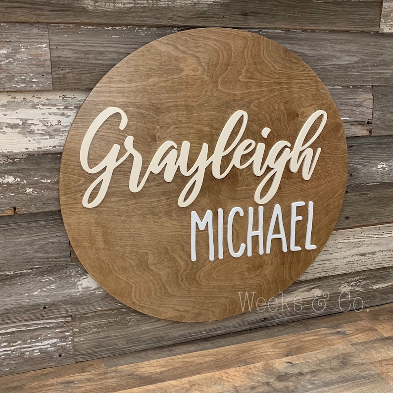 Nursery Baby Name Wooden Base Vintage Farmhouse Rustic Sign Personalized Gallery Wall
