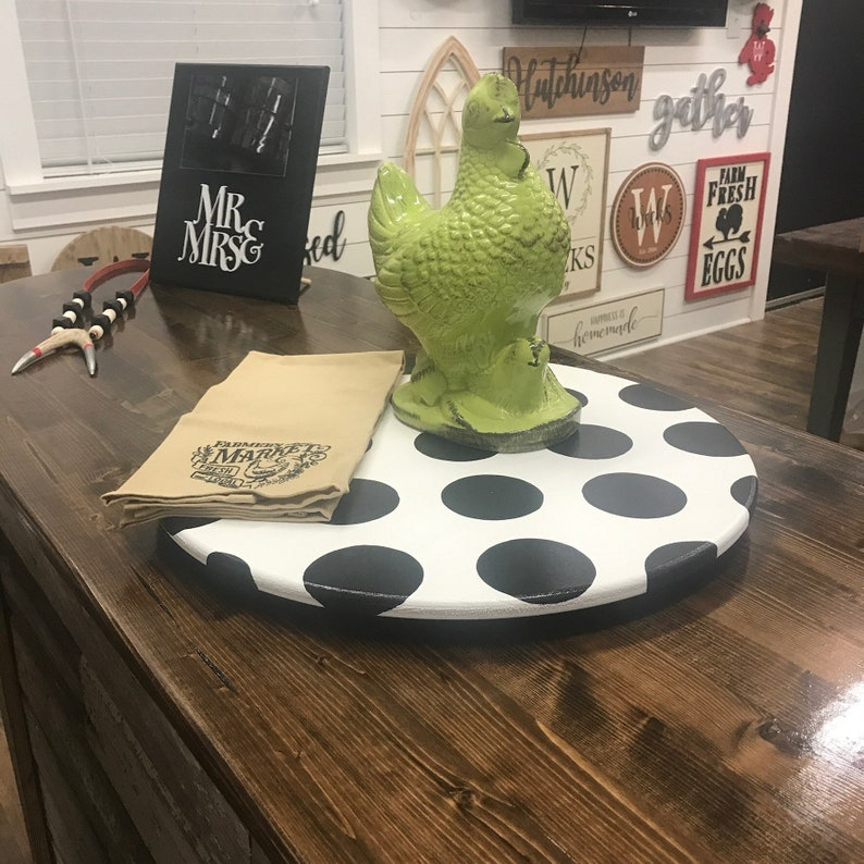 Farmhouse Lazy Susan White With Black Dots Custom Rustic Etsy