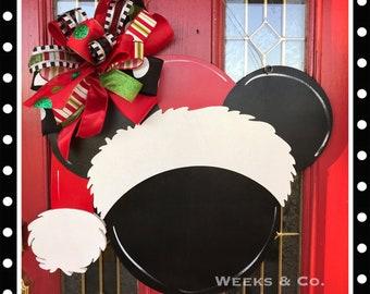Disney Inspired Christmas Mickey Santa  Door Hanger Front Door Mickey Mouse