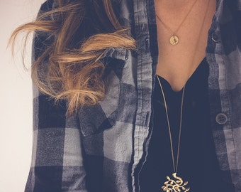 Gold Necklace | Long necklace, Bodhi tree necklace, Boho necklace, Dainty pendant necklace, Minimalist jewelry