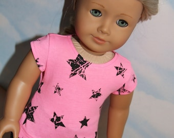 18 Inch Doll (like American Girl)  Pink & Black Star Print Cap Sleeve Shirt and Black Polka Dot Capri Pants