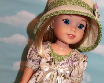 14.5 Inch Doll (like Wellie Wishers) Purple and Green Floral & Script Print Pinafore, Green Floral Sleeveless Dress and Cream Felt Hat