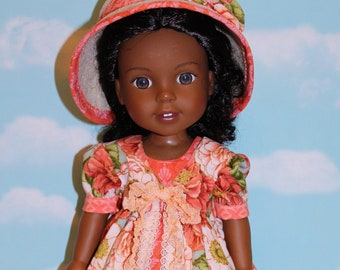 14.5 Inch Doll (like Wellie Wishers) RESERVED FOR PENNY  Coral Floral Print Pinafore, Coral Damask Print  Dress and Tan Felt Hat