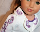 18 Inch Doll (like American Girl) White Denim Jacket with Purple Paisley Embroidery, Purple Paisley Skirt, and White Tank Top