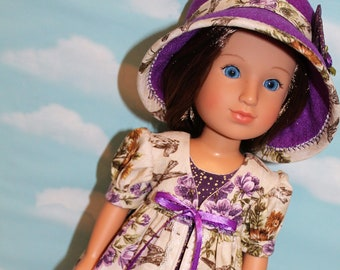 14.5 Inch Doll (like Wellie Wishers) Antique-Look Floral & Bird Print Pinafore, Purple and Gold Sleeveless Dress and Purple Felt Hat