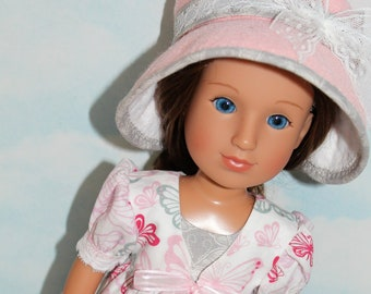 14.5 Inch Doll (like Wellie Wishers) Pink & Gray Butterfly Print Pinafore, Gray Buterfly Sleeveless Dress and Pink Felt Hat