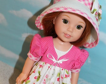 14.5 Inch Doll (like Wellie Wishers) Pink & White Floral, Gingham and Polka Dot Pinafore, White Sleeveless Dress and White Felt Hat