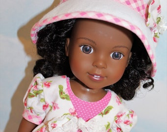 14.5 Inch Doll (like Wellie Wishers) Pink & White Floral and Gingham Pinafore, Pink with White Polka Dot Sleeveless Dress and White Felt Hat