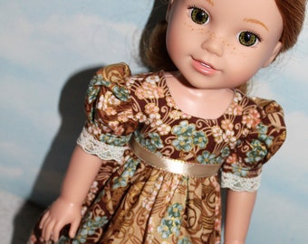 14.5 Inch Doll (like Wellie Wishers) Brown, Aqua & Peach Floral Print Puff Sleeve Dress with Lace, Gold Accents and Ribbon