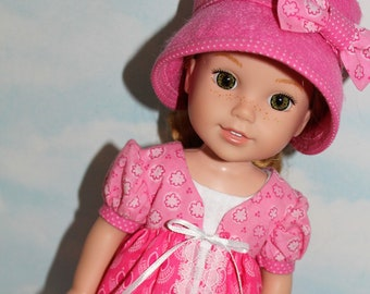14.5 Inch Doll (like Wellie Wishers) Pink & White Floral and Polka Dot Print Pinafore, White Sleeveless Dress and Pink Felt Hat
