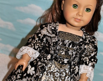 18 Inch Doll (like American Girl) Black and Gold Historical Colonial 1770s Sacque Back Gown