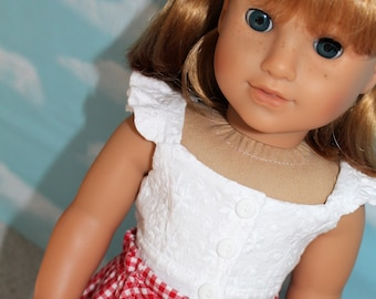 18 Inch Doll (like American Girl) White Embroidered, Ruffled Crop Top with Red Gingham Paper Bag Shorts