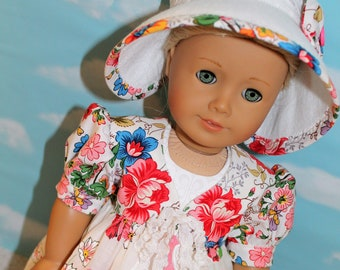 """18"""" Doll (Like America Girl) Pink & White Floral Vintage Handkerchief Pinafore, White Ruffled Dress and Felt Hat with Bow"""