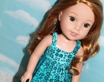 14.5 Inch Doll (like Wellie Wishers) Turquoise Hawaiian Floral Print Maxi Sundress