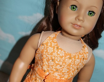 18 Inch Doll (like American Girl) Orange Floral Print Halter Romper with Ties & Pockets