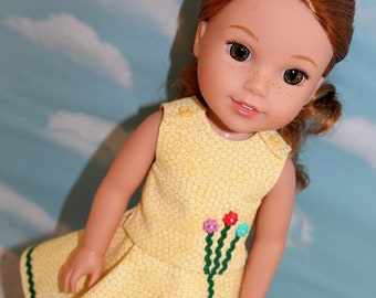 14.5 Inch Doll (like Wellie Wishers) Yellow Crop Top & Skirt with Rick Rack, Flower Buttons and Bloomers