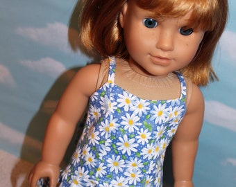 18 Inch Doll (like American Girl)  Blue & White Daisy Print Maxi Sun Dress