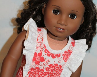 18 Inch Doll (like American Girl) Red & White Floral Flutter Sleeve Ruffle Dress