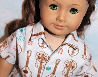 18 Inch Doll (like American Girl) Dark Brown Jeans and Tan Guitar Print Short Sleeve Shirt