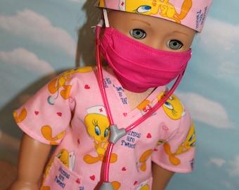 18 Inch Doll (Like American Girl) Pink Tweety Print Hospital Scrubs with Stethoscope (5 piece set)