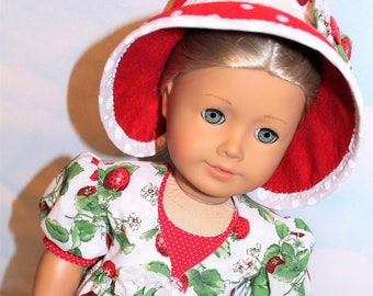 """18"""" Doll (Like America Girl) Strawberry Pinafore, Red & White Polka Dot Dress and Felt Hat with Bow"""