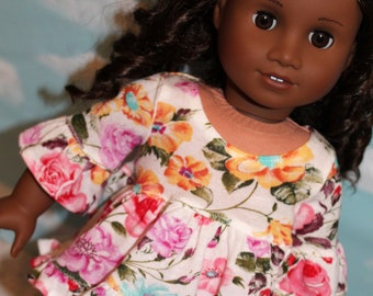 18 Inch Doll (like American Girl) Floral Ruffled Hi-Low Hem Top and Light Pink Jeans