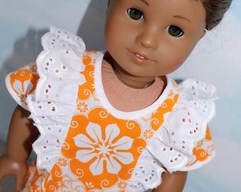 18 Inch Doll (like American Girl) Orange & White Floral Flutter Sleeve Eyelet Ruffle Dress