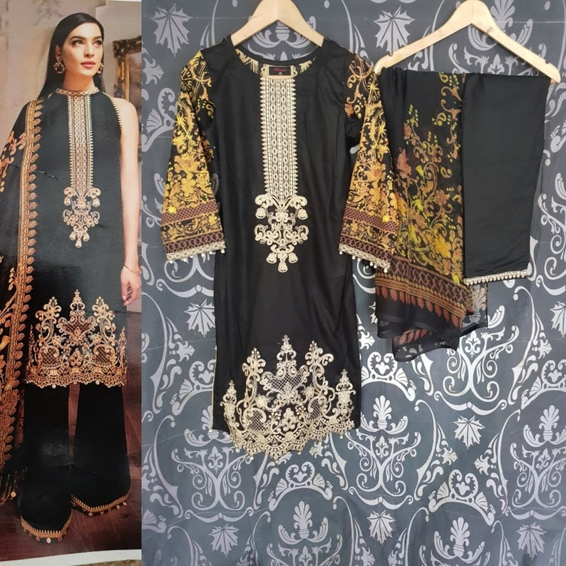 Casual Salwar Kameez Shalwar Stitched Indian Pakistani Printed Chiffon Suit