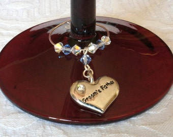 Wine Charm - Groom's Father Gift - Wine Glass Charm, Wedding Favours - Father of the Groom