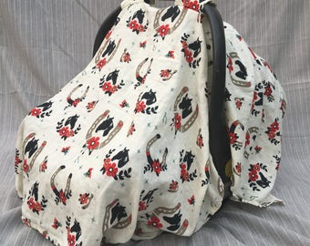 Horses and Horseshoe Navy and Buttercream Muslin car Seat Cover Baby Girl Boy Accessory