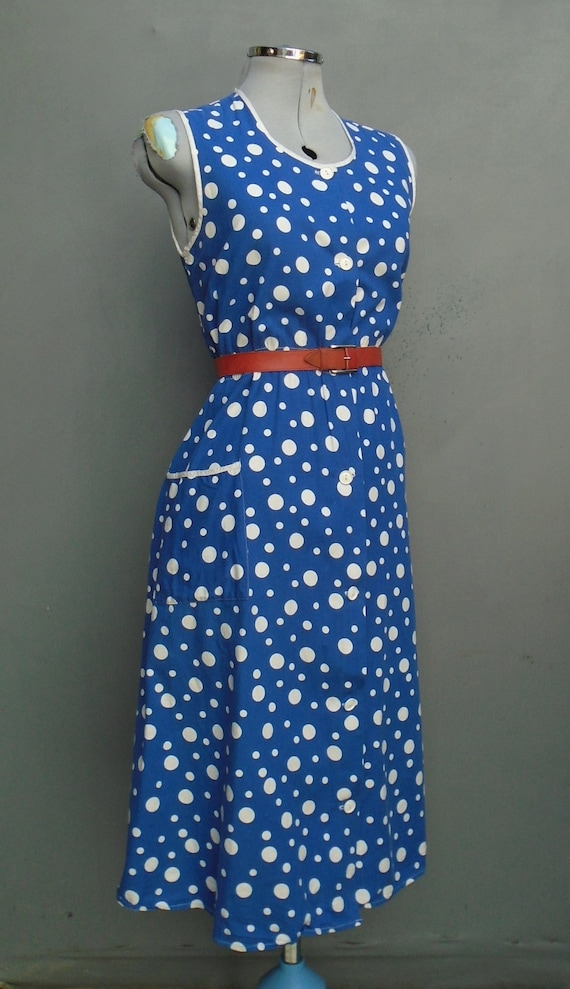 Vintage 1940s Pinafore Sleeveless Dress Button Ov… - image 5