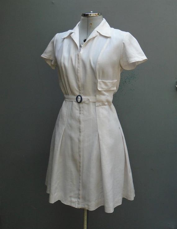 Superb CC41 Londonus White Linen Tennis Dress 1940