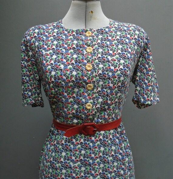 Original Vintage 1930s 1940s Dress Novelty Deco Ge
