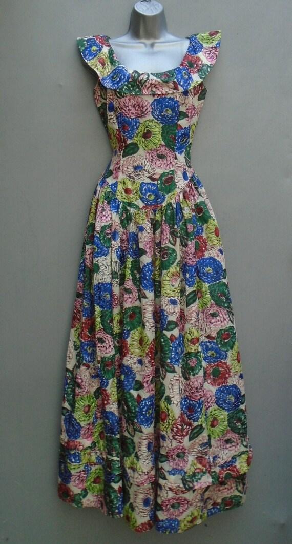 Vintage IIOII 1940s Afternoon Dress Novelty Bold F