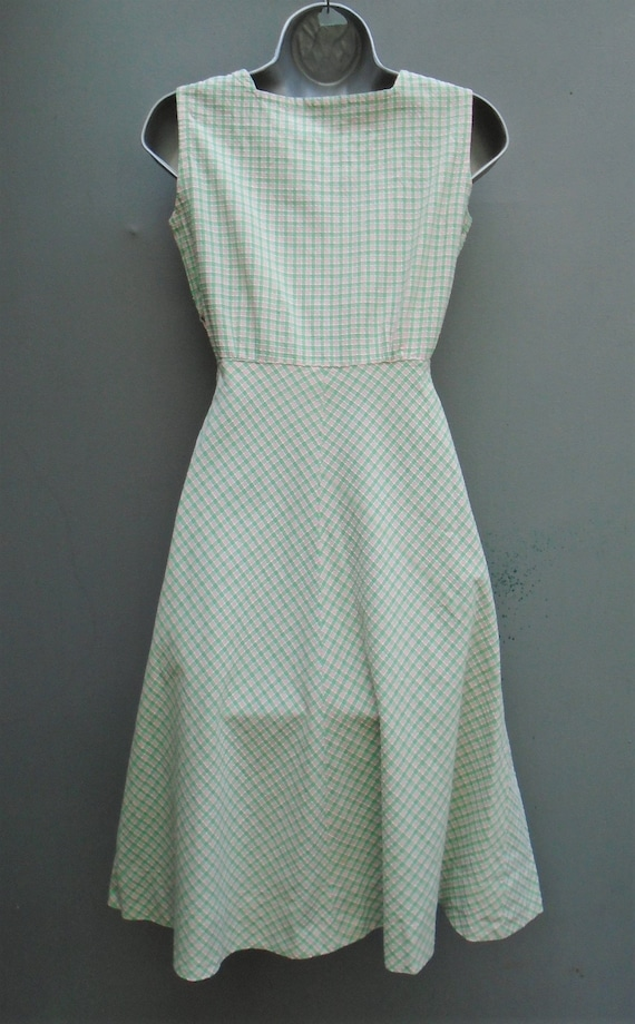 Vintage 1940s Pinafore Sun Dress Checked Pink Gre… - image 5